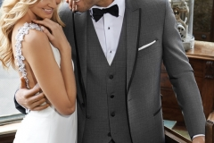 Utah Wedding Tuxedos - A Cleaner Image Formal Wear gray sharkskin oscar tux and bride