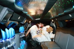 Utah wedding limo - Divine Limousine bride and groom