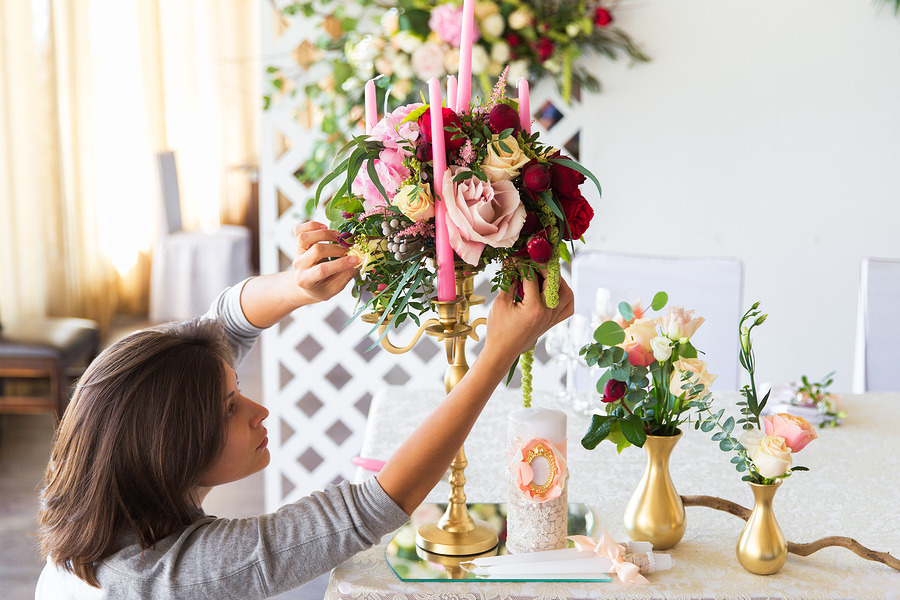 Florist At Work. Woman Making Spring Floral Decorations The Wedd